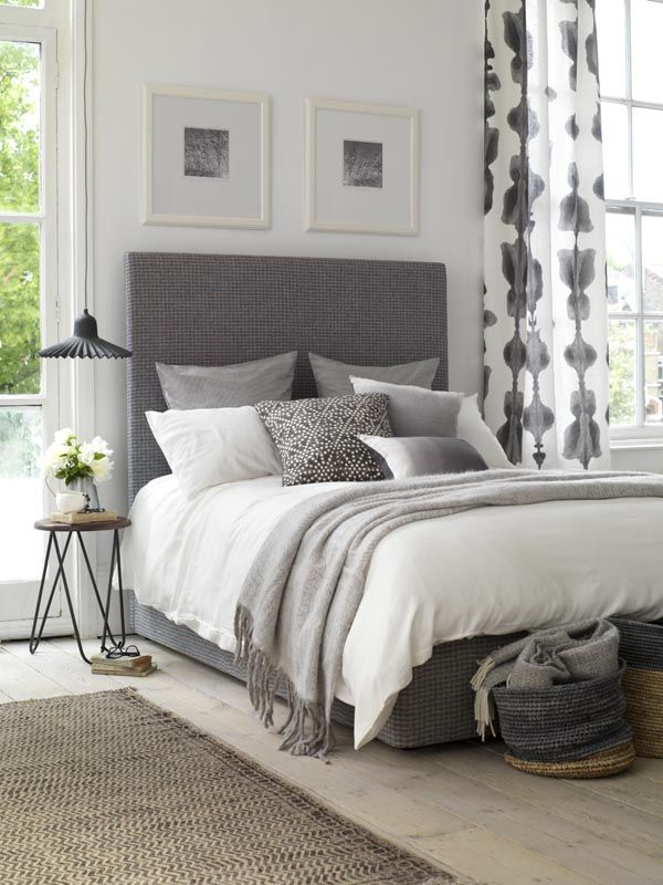 Sunday Morning Style. Grey Curtains BedroomWhite ... & Best 25+ Grey bed frame ideas on Pinterest | Grey bed Wingback ... pillowsntoast.com