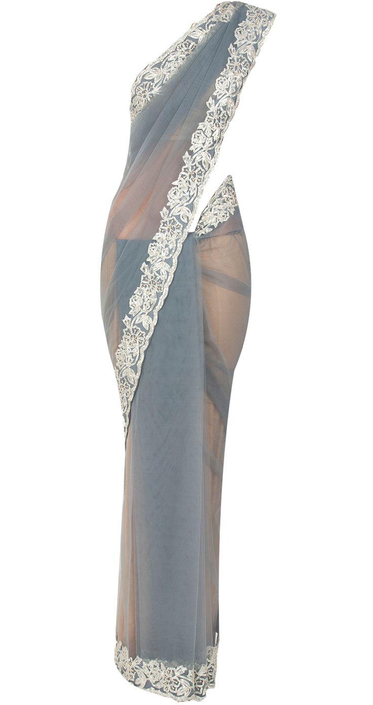 Grey net sari with gota work by SHEHLA KHAN. Shop at http://www.perniaspopupshop.com/whats-new/shehla-khan-7244