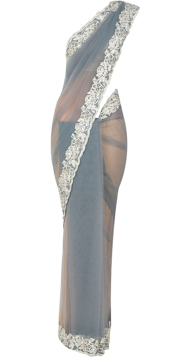 Grey net sari with gota work by SHEHLA KHAN. Shop at http://www.perniaspopupshop.com/whats-new/shehla-khan-7244