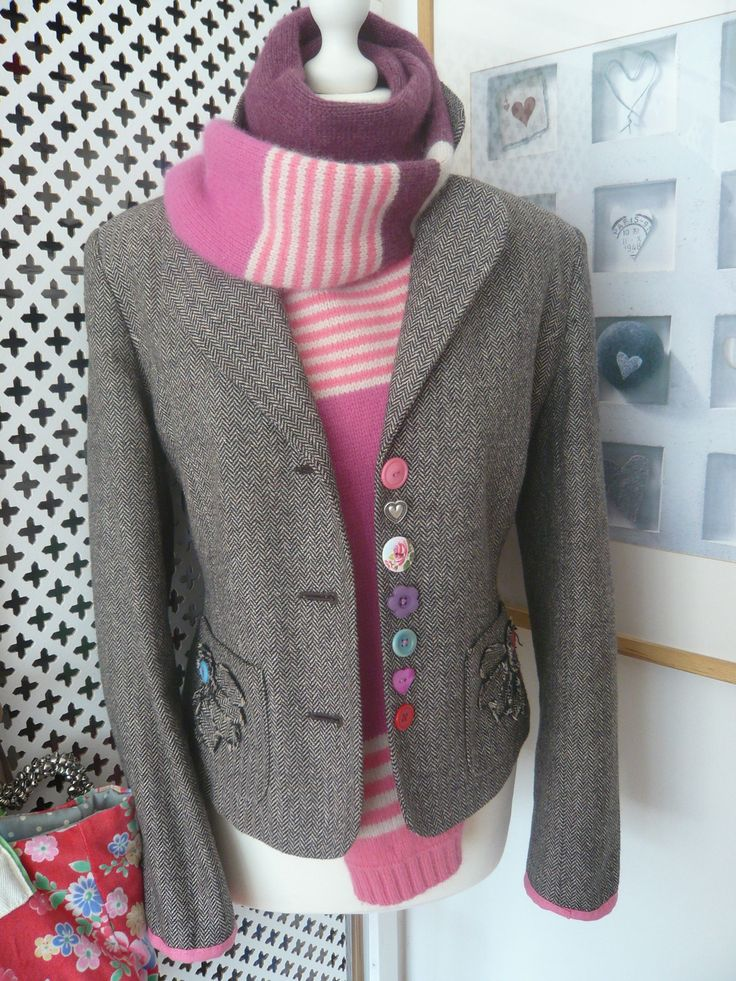 Customised tweed jacket with Boden scarf - LOVE the whole thing!