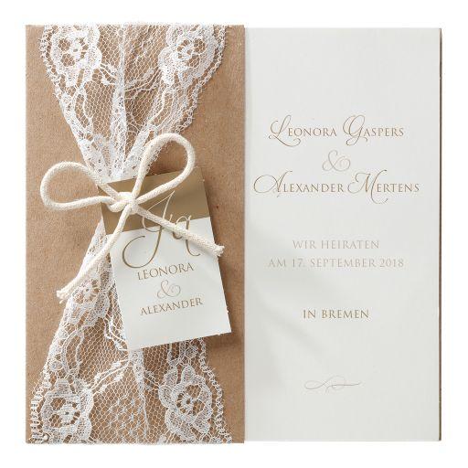 Hochzeitseinladung Emily Kraftpapier Und Spitze