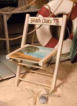 Beach Deco Only Folding Large Chair Painted Wood *** For more information, visit now : Camping Furniture