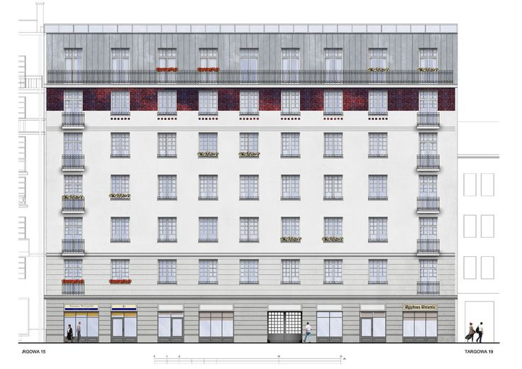 Facade design for no. 17 Targowa st. development in Warsaw (2017); designed by architect Piotr Kilanowski