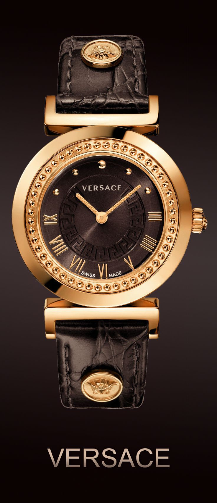 "Versace Women's P5Q80D598 S497 ""Vanity"" Rose Gold Ion-Plated Watch with Brown…"