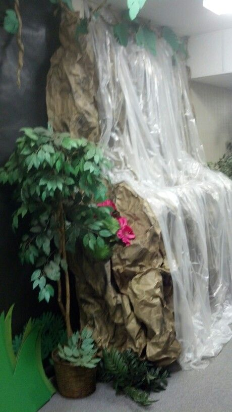 waterfall out of crumpled craft paper u0026 clear plastic drop cloths