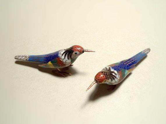 Vintage Cloisonne Vitreous Enamel Matching Pair of Bird