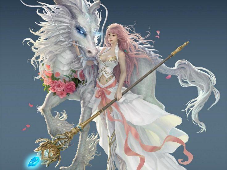 Dragon obrazy, dívka tapety, magie vektor, koně zázemím, personál materiál