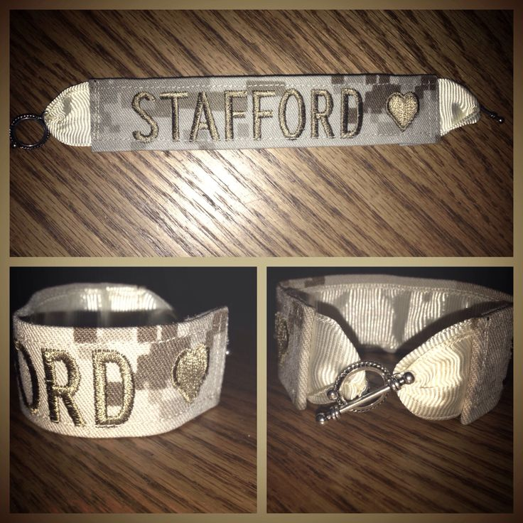 A personal favorite from my Etsy shop https://www.etsy.com/listing/193995194/military-name-tape-bracelet-w-heart-any