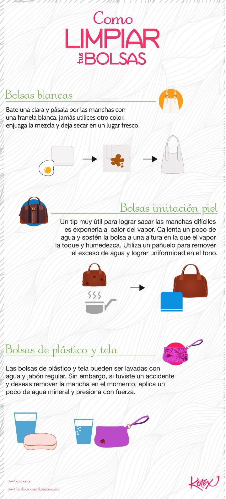 Cómo limpiar tus bolsas #mujeresenmovimiento #infografia #infographic #fashion #style #moda