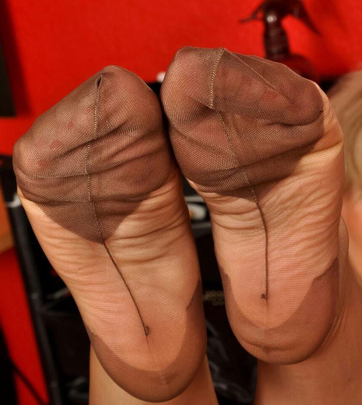 image Sheer pantyhose red nails footjob