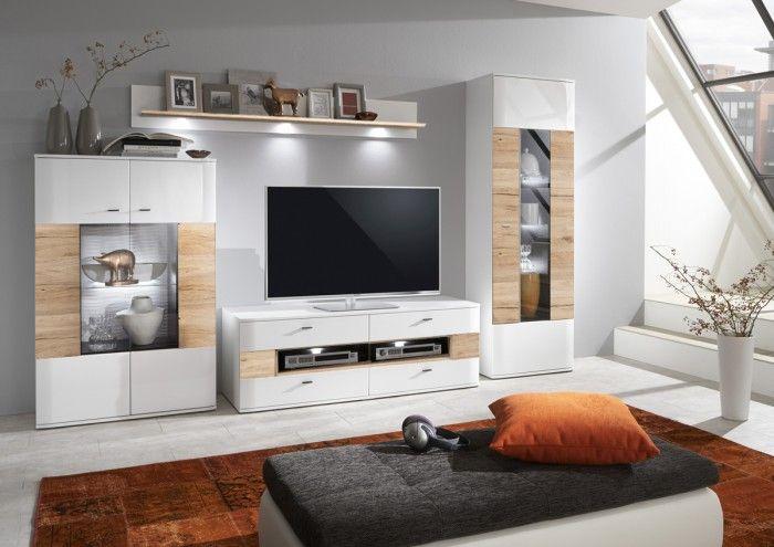 Obývací stěna Denver kombi 103 svými zaoblenými liniemi a příjemnou kombinací dekorů udělá z obývacího pokoje prostředí klidu a harmonie, kde budete...