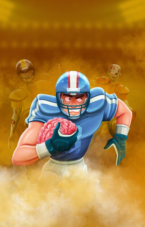 Diego Caceres #illustration #videogame #american #football #footbrain #mataguris #ovendesign #zombie #dead #brain