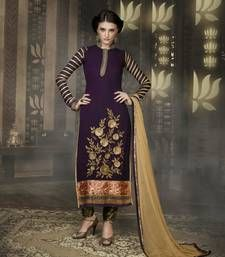 Buy Purple georgette indo semi stitched suit anarkali-salwar-kameez online