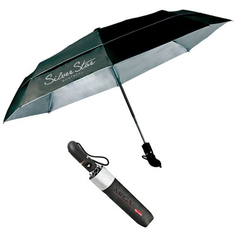"""The Silverado (300980) - -Auto open compact umbrella -comfort grip handle that molds to your hand -double canopy inverting design -UV protection with SPF + 50 -43"""" arc -folded length 12.5"""" -8 panels -available in black with the silver lining for UV"""