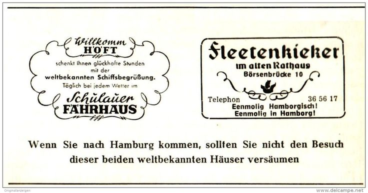 Original-Werbung/ Anzeige 1959 - WILLKOMM HÖFT / SCHULAUER FÄHRHAUS/ FLEETENKIEKER - ca. 110 x 50 mm