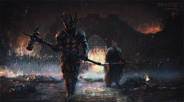 """Battle on the Pyke (Robert Baratheon and Eddard """"Ned"""" Stark) by Lensar. """"Tell me, what right did my brother Robert ever have to the Iron Throne? Oh, there was talk of the blood ties between Baratheon and Targaryen, of weddings a hundred years past, of second sons and elder daughters. No one but the maesters care about any of it. Robert won the throne with his warhammer."""""""