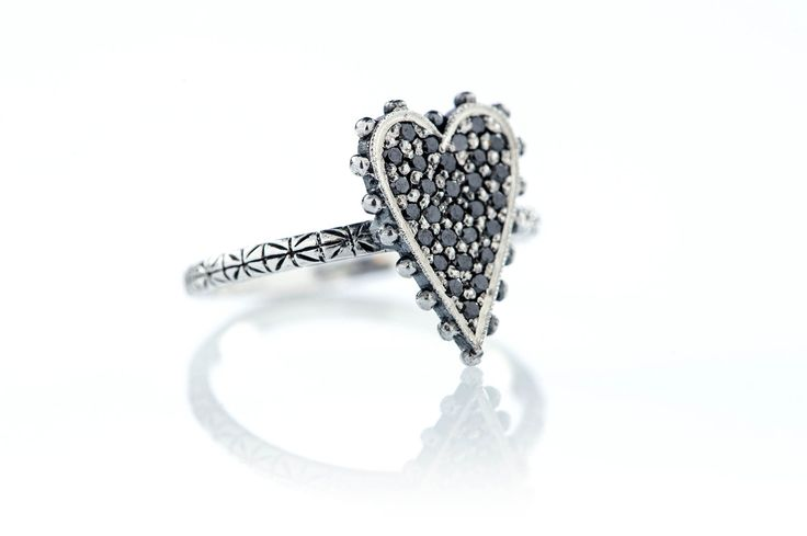 Strong heart ring! Black diamonds full pavé with studs! #diamonds #jewels #ottojewels