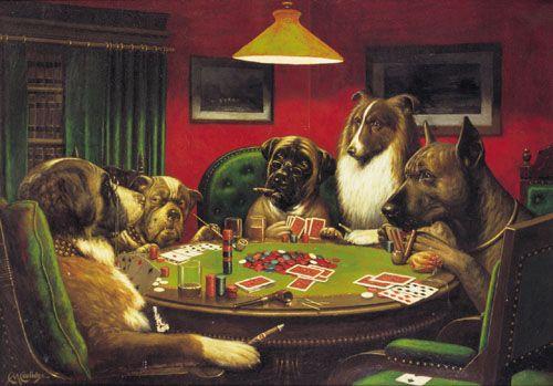 #dogs playing poker