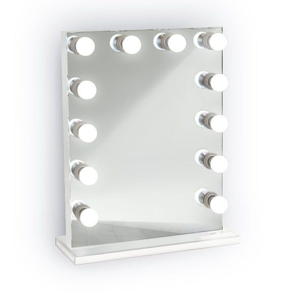Hollywood Style 24 Lighted Vanity Mirror W 12 Led Bulbs White Side And Base In 2020 Lighted Vanity Mirror Hollywood Vanity Mirror Hollywood Lighted Vanity Mirror