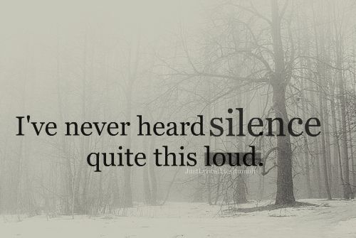 i've never heard silence quite this loud -taylor swift