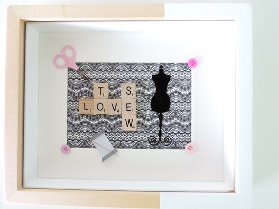 Scrabble Art sewing frame with black and white by SpellingBeeArt