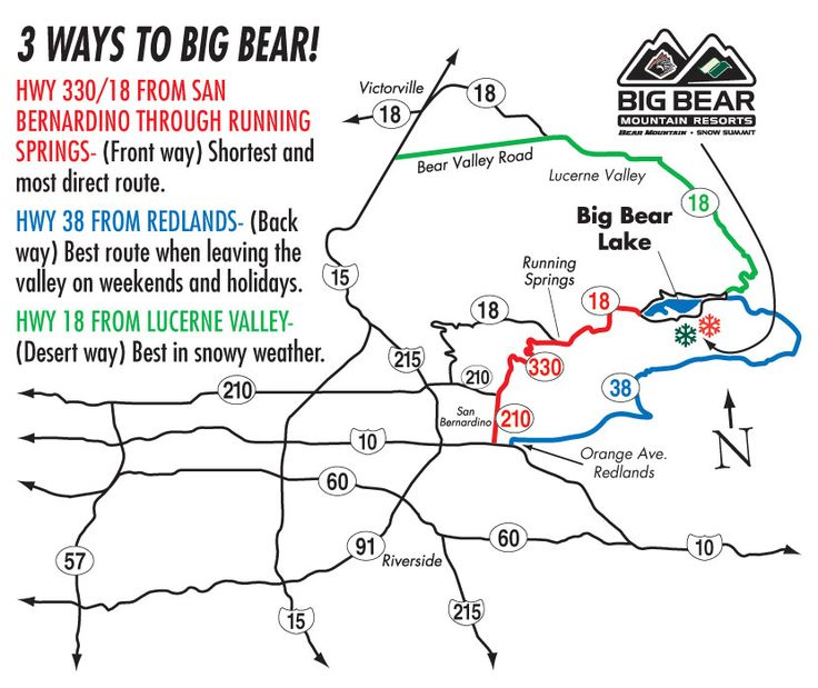 Driving Direction Map to Big Bear Mountain Resorts