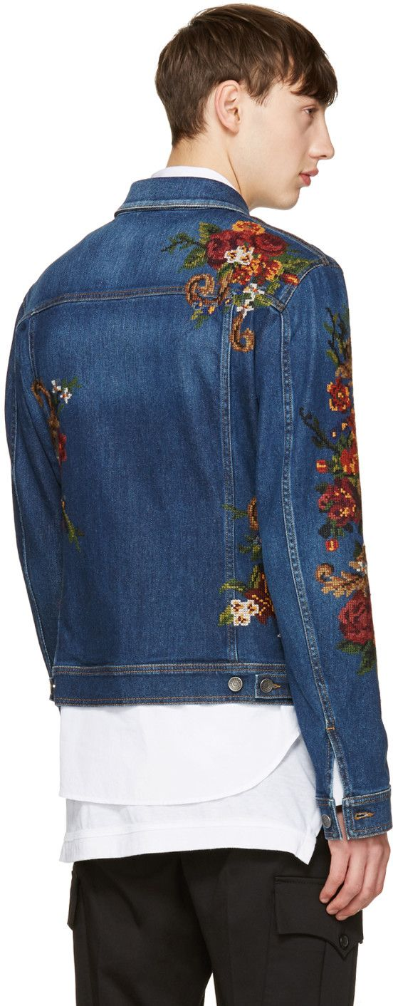 Dolce & Gabbana - Indigo Embroidered Denim Jacket from Ssense. (men, style, fashion, clothing, shopping, recommendations, stylish, menswear, male, streetstyle, inspo, outfit, fall, winter, spring, summer)