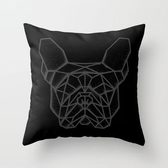 Fench Bulldog Geometric Sketch Throw Pillow. #FrenchBulldog #bulldog #Geometric