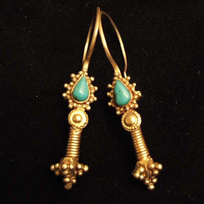 Earrings ~ Iran | 20 ct gold and turquoise | This type of earrings which can be found also in Afghanistan is often wrongly attributed to the Kazakh people.