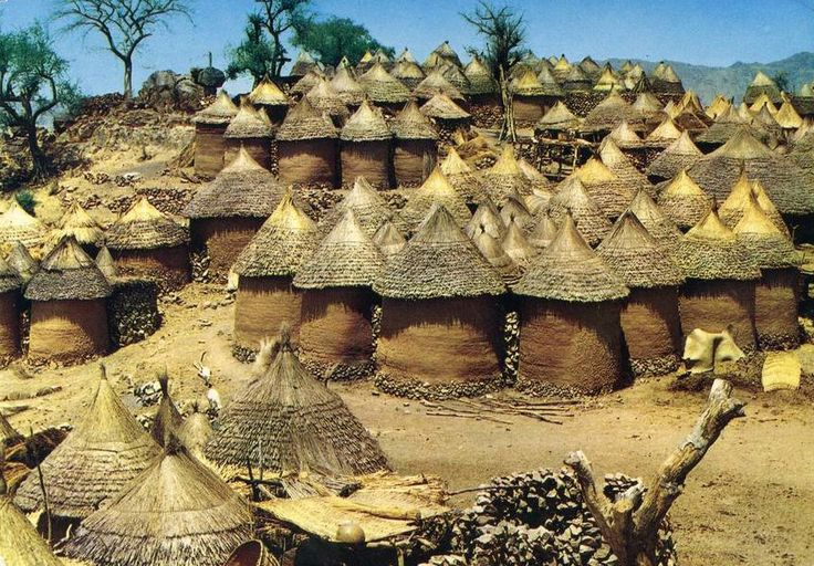 Homesteads from the Kirdi people.  Douala, Cameroon || Scanned postcard.  1981. Published by The Tourism Commission