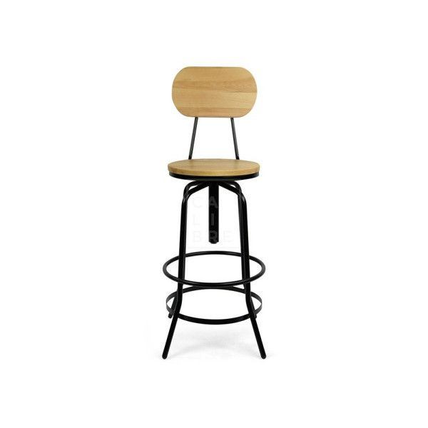 Calibre - Yore Industrial Stool with Backrest - Black