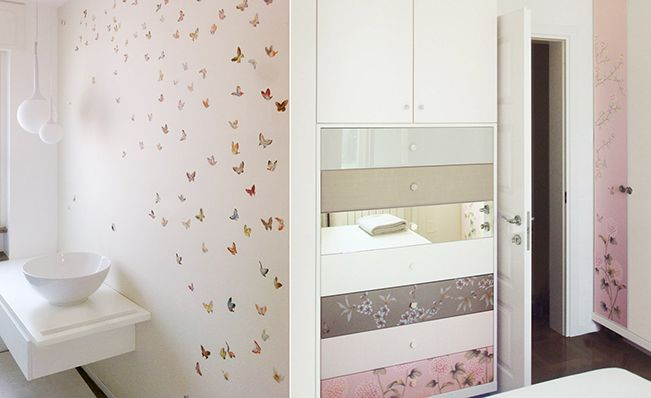 Bathroom wall in Misha's modern chinoiserie, Butterflies wallpaper design on Ivory dyed silk.