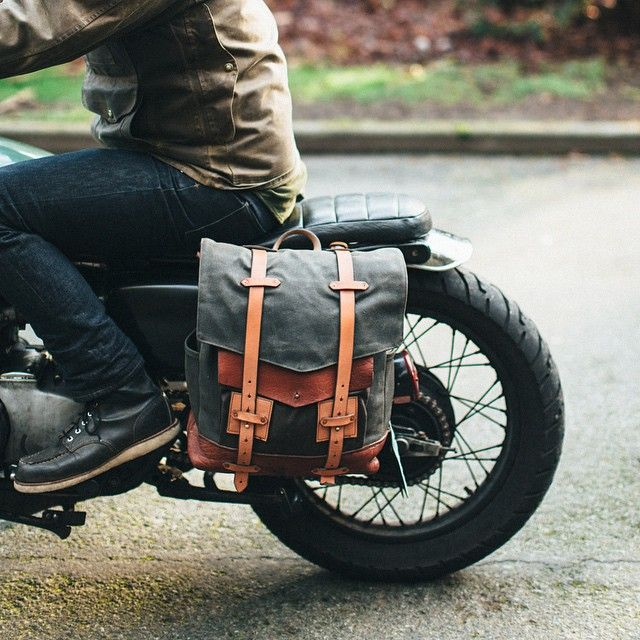 """""""After riding with backpacks on our moto-camping road trips last year, we decided this needed to happen. This is the first prototype- and many things may…"""""""