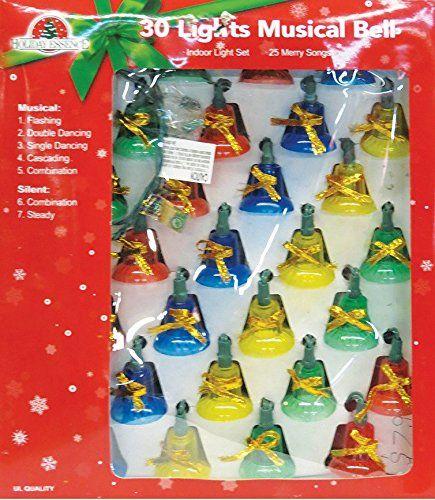 Holiday Essence Indoor Synchronized Musical Christmas Bells Light Set   30  Multi Color Bell Lights