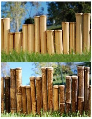 This is what I am going to do with all of the bamboo my dad brought me...cut it in various sizes, maybe even do a light glaze of color and seal it for flower bed borders...