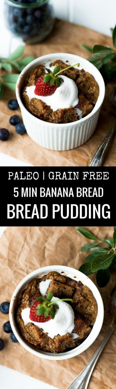 This decadent paleo bread pudding is made with a 5 minute paleo banana bread recipe. Moist, light, and and easy to make breakfast or sweet treat.