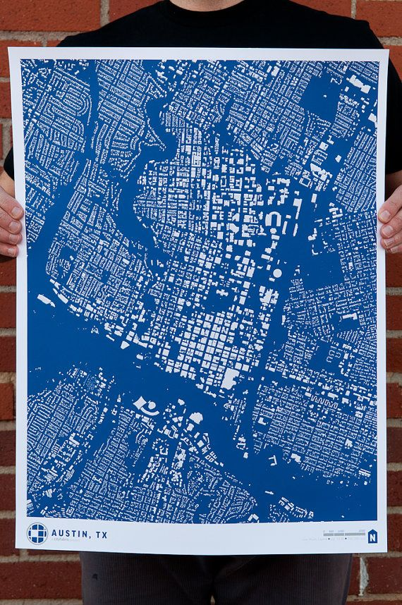 Houston Judgemental Map%0A SALE CityFabric Austin Map Print Blue  PrintAusBl