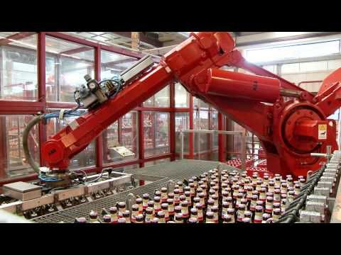 ABB Robotics - Packing Beer Bottles with Refurbished Robots - YouTube