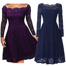 Fashion Women Vintage Long Sleeve Lace Evening Party Cocktail Short Wiggle Dress