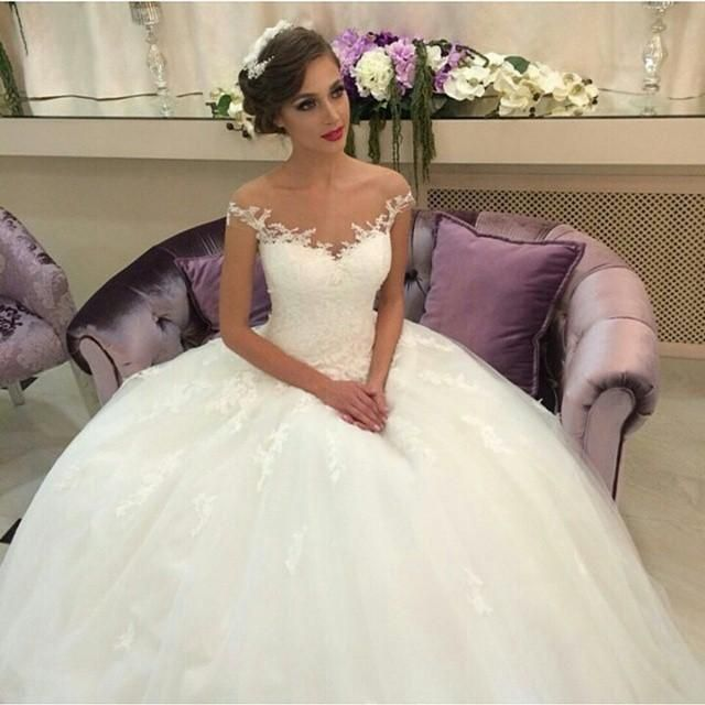 Vintage Ball Gown Wedding Dresses 2015 Off The Shoulder Lace Sheer Neck A-Line Capped Tulle Princess Custom Made Bridal Dress Gowns Cheap Online with $133.51/Piece on Hjklp88's Store | DHgate.com