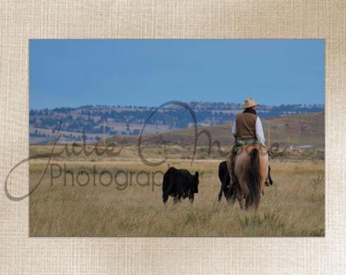 Montana Western Cowboy and Calves- Wall Art Decor - Fine Art Photography Canvas Gallery Wrap - Country Rustic Horse Cowboy Calf Blue Green