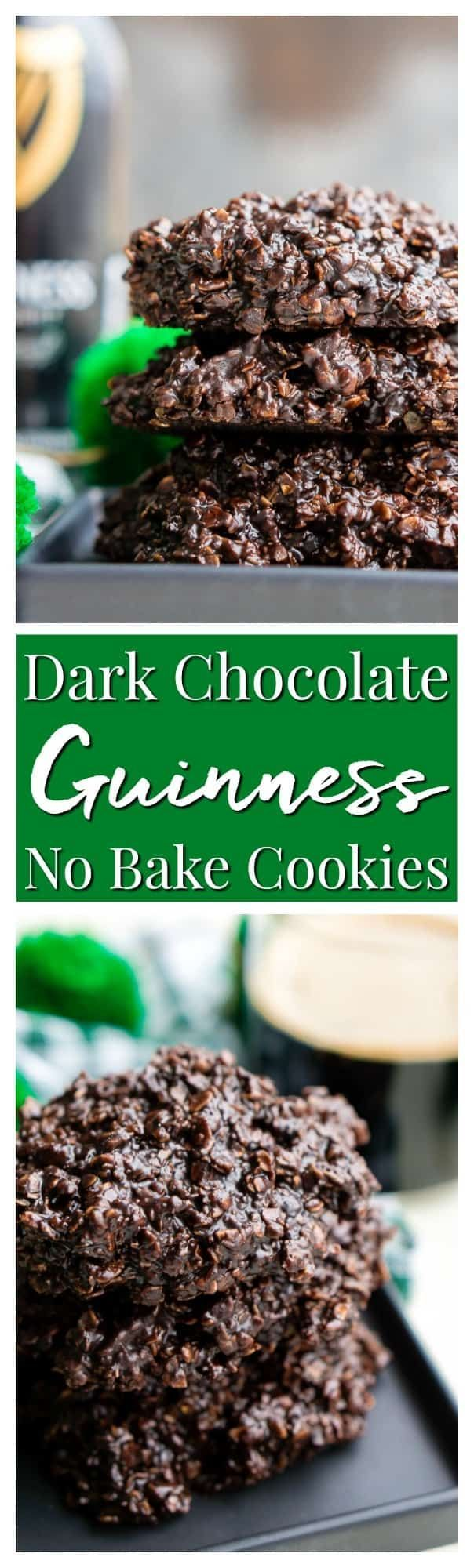 Dark Chocolate Guinness No Bake Cookies are a rich, delicious, and easy dessert for St. Patrick's Day that's made with Irish stout. via /sugarandsoulco/