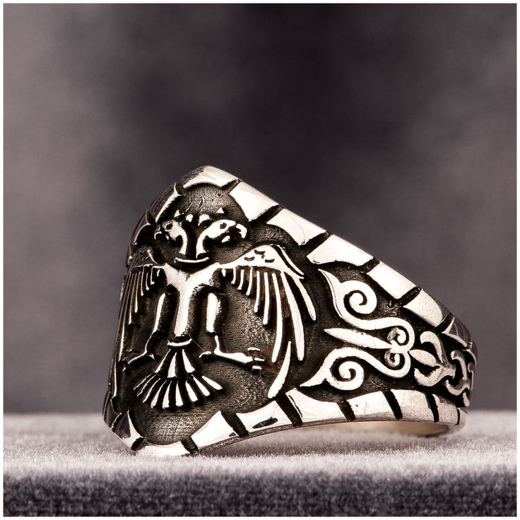 Turkish Mens Ring Double Head Eagle 925 Sterling Silver - J359