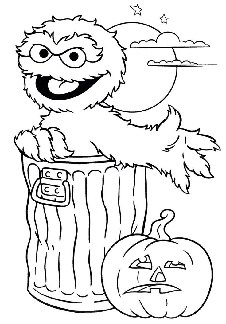 oscar the grouch halloween coloring page