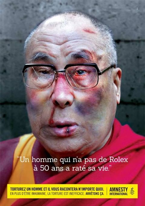 "Campagne Amnesty International ""Stop Torture !"" - Dalaï Lama http://www.emerveille.fr/amnesty-stop-torture/"