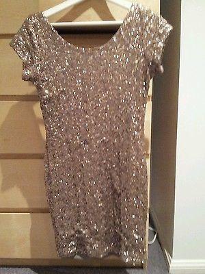 Black Foxx Medium Sequined Bronze Womens Evening Dress Girls | eBay