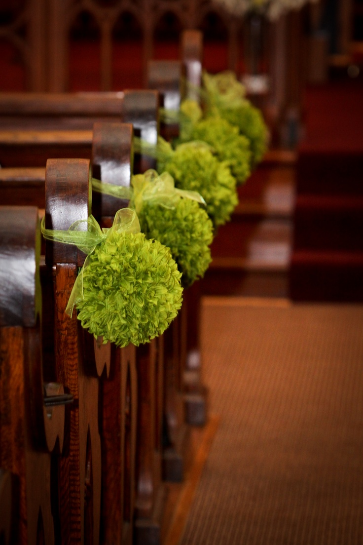 The 276 best wedding pew decor images on pinterest church i love these green kissing balls for pew decorations junglespirit Choice Image