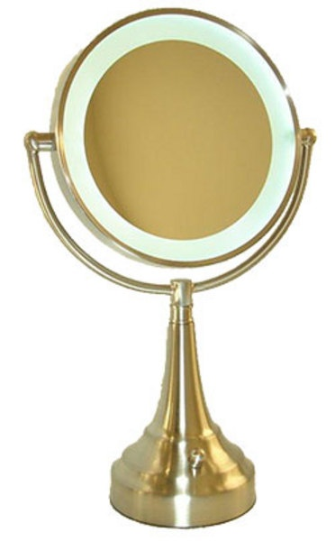 10 times magnification Satin Nickel vanity mirror.
