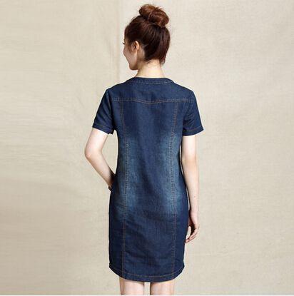 M~XXXL women denim dress summer 2015 new arrivals cotton blue jeans dress for women v-neck big size dresses online shop clothing