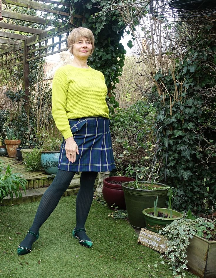 In the last post of 2017 Is This Mutton blog for the over-45s features outfits including this plaid mini skirt and jumper from Sainsburys